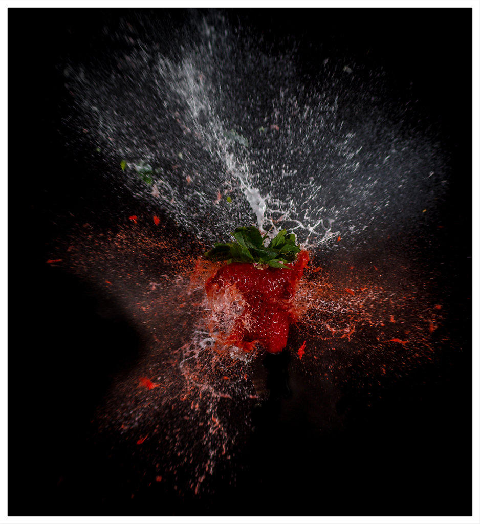 Frame exploding strawberry